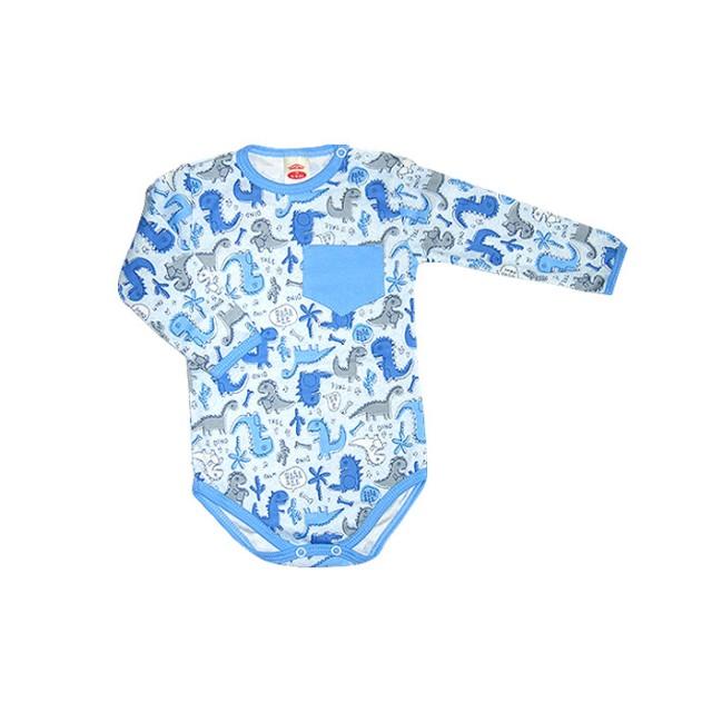 MK0302-1-6.9 luni,Body bebe - bleu cu dinozauri - Haine Bebe