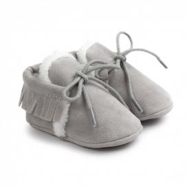LIYM54-4-p18.9-12 luni (Marimea 20 incaltaminte),Pantofiori gri imblaniti cu franjuri