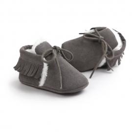 LIYM54-5-p01.6-9 luni (Marimea 19 incaltaminte),Pantofiori gri inchis imblaniti cu franjuri