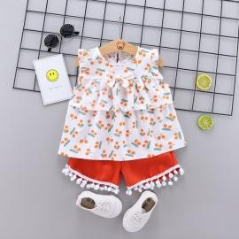 LIHQ374-11.2 ani,Costumas pentru fetite cu bluzita cu cirese portocalii