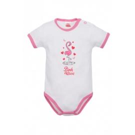 MK03211KR.9 luni,Body alb cu flamingo pentru bebelusi - Colectia Flamingo
