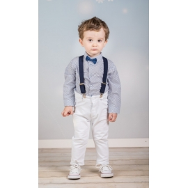 Art-Set-white-navy.6-9 luni (Marimea 19 incaltaminte),Set complet cu pantalonasi cu bretele - White and navy