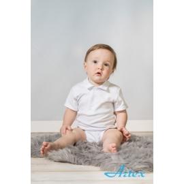 Art-body-1-MS.3 luni,Body alb cu guleras - Artex