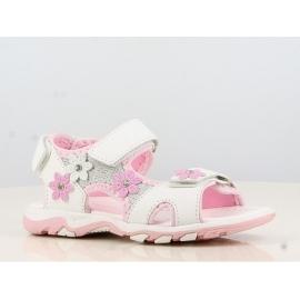 LLB143370.Marimea 33,Sandale albe pentru fetite accesorizate cu floricele