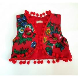 F04-Vesta-C.7-8 ani,Vestuta accesorizata cu ciucurei - Red Diva