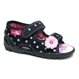 IRERENB71.Marimea 25,Sandalute pentru fetite - Bulinute albe cu margareta roz
