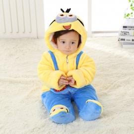 MDMini.6-9 luni,Combinezon albastru cu galben plusat bebelusi