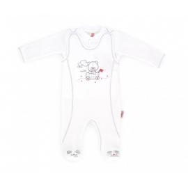 MK01107-6.3 luni,Salopeta bebe cu bluzita din bumbac organic - Hello bear - Haine Bebelusi