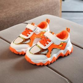 MDNG5G-2-p26.Marimea 25,Adidasi albi cu portocaliu cu insertie cameleon