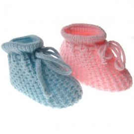 DKW401-P.Nou nascuti.Bleu,Botosei crosetati cu model pentru bebelusi