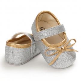 LIB229-4-p24.6-12 luni (Marimea 19 incaltaminte),Pantofiori arginti cu fundita aurie