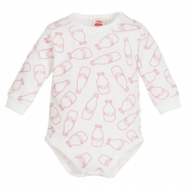 MK03198DDR.12 luni,Body alb cu sticlute de lapte - Milk Girl