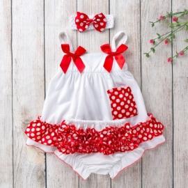 MDX010-3-c3.6-9 luni (Marimea 19 incaltaminte),Costumas pentru fetite alb cu volanase rosii