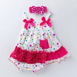 MBX010-1-c2.9-12 luni (Marimea 20 incaltaminte),Costumas pentru fetite - Bulinute colorate