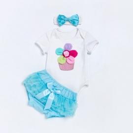 MDZ609-2-c5.6-9 luni (Marimea 19 incaltaminte),Costumas pentru fetite body cu pantaloni scurti turcoaz