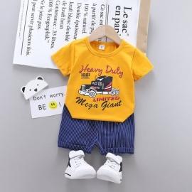MBHQ308-25.12-18 luni (Marimea 21 incaltaminte),Costum cu tricou galben pentru bebelusi - Heavy Duty