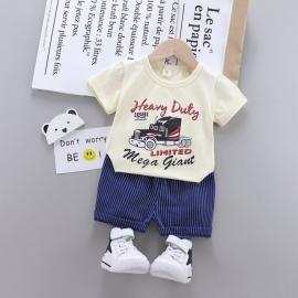 MBHQ308-26.12-18 luni (Marimea 21 incaltaminte),Costum cu tricou ivoire pentru bebelusi - Heavy Duty