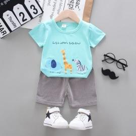 MBHQ308-4.18-24 luni,Costum bebelusi cu tricou turcoaz - Safari