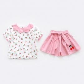 MBW-098-5.18-24 luni,Costumas alb cu roz pentru fetite - Cirese