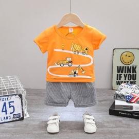 MDHQ308-21.12-18 luni (Marimea 21 incaltaminte),Costum bebelusi cu tricou portocaliu - Cars