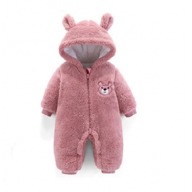 MBC01.6-9 luni (Marimea 19 incaltaminte),Combinezon plusat roz pudra - Teddy bear