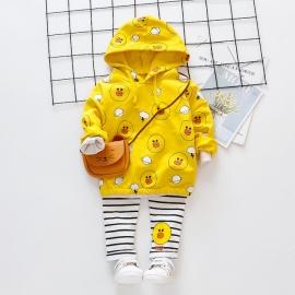 MDHQ328-3.6-9 luni (Marimea 19 incaltaminte),Costumas galben pentru fetite - The duck