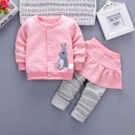 LIHQ15-1.9-12 luni (Marimea 20 incaltaminte),Compleu roz fetite - Bunny
