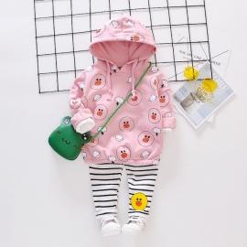 MDHQ328-4.18-24 luni,Costumas roz pentru fetite - The duck